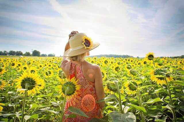 Frau in einem Sonnenblumenfeld